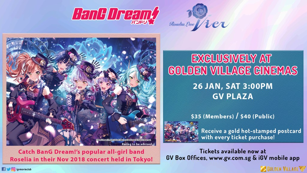 """Roselia Live Vier"" Delayed Viewing Slated for 26th January in Singapore!"