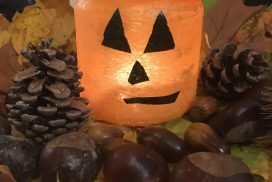 Photophore en papier crépon pour fêter l'automne, Halloween ou Noël