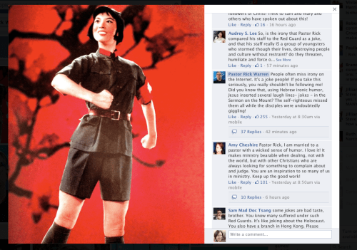 Screen shot of image on Rick Warren's Facebook page