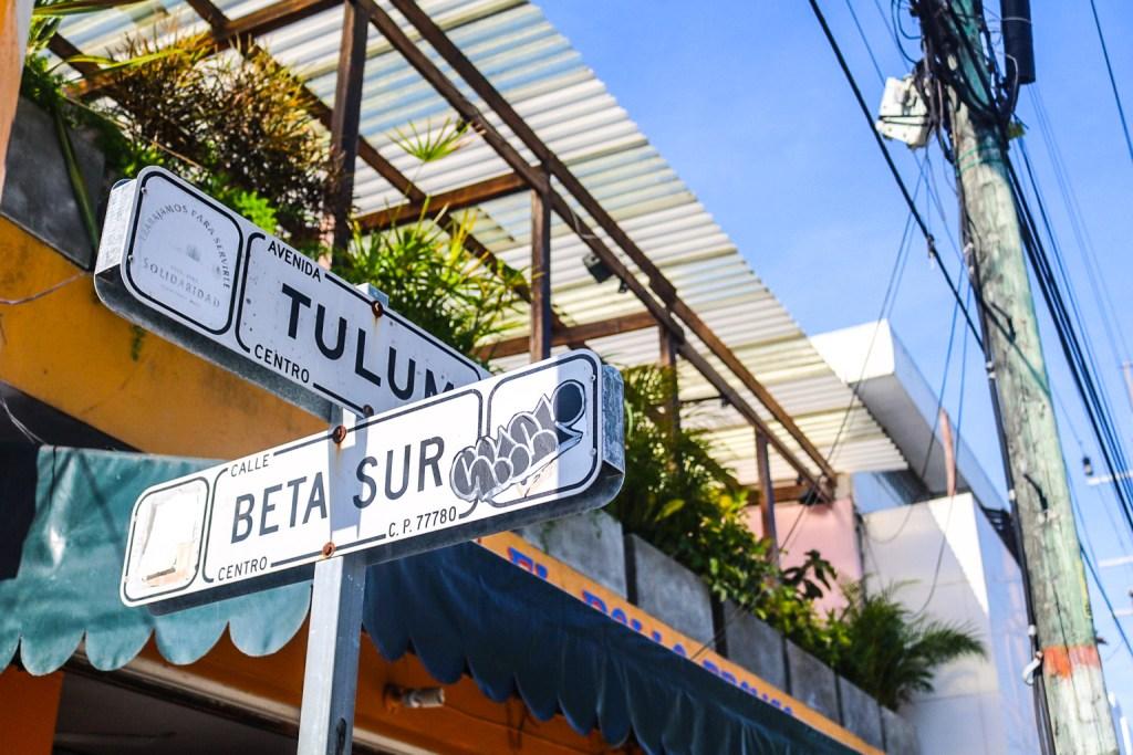 Street sign in Tulum