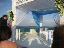 Our beautiful Chuppah over-looking the ocean (with no sand in my toes!)