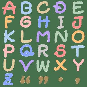 そこねこ。カラーのアルファベット(大文字)