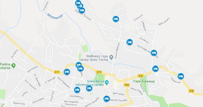 Mapa smeštaja u Sokobanji