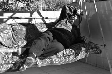 Blind grandfather Rezo, enjoying the sun