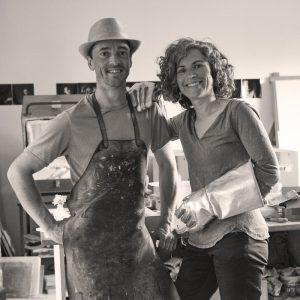 portrait Sophie et Guillaume Le Penher à l'atelier