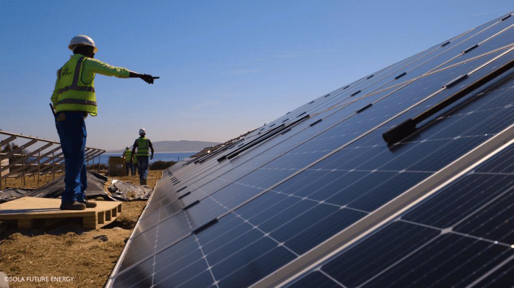 Robben Island solar PV construction