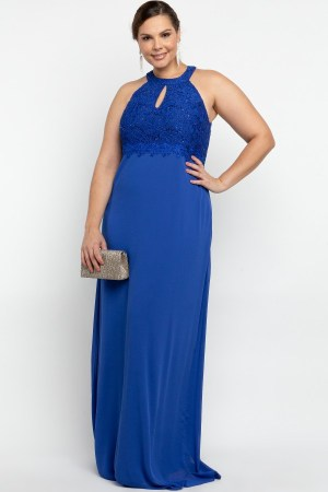 VESTIDO LONGO BORDADO RENDA AZUL ROYAL PS