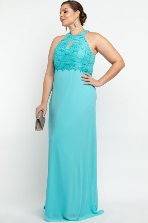 VESTIDO LONGO BORDADO RENDA AZUL TIFFANY PS