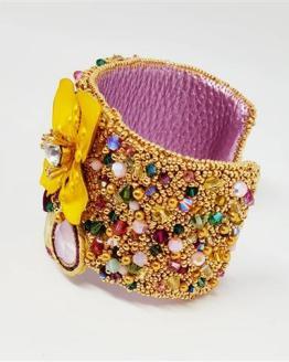 Création Solalbijoux Bracelet manchette exhubérance florale