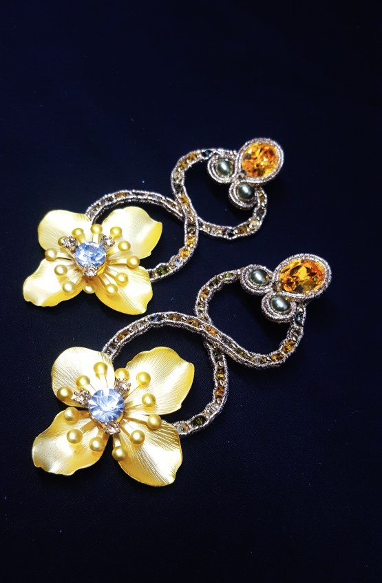 Solal Bijoux Haute Fantaisie boucles d'oreilles or et jaune