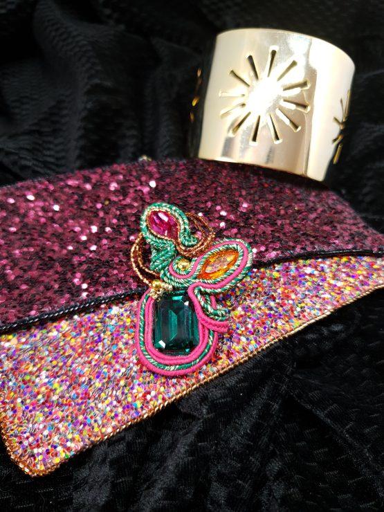 Solal Bijoux Haute Fantaisie bijou nomade vert, rose et orange + manchette avec manchons réversibles
