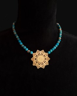 Solal Bijoux Haute Fantaisie collier aimanté de perles en jaspe impérial bleu turquoise