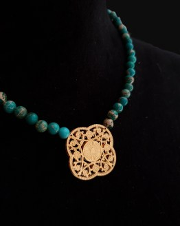 Solal Bijoux Haute Fantaisie collier aimanté de perles en jaspe impérial vert