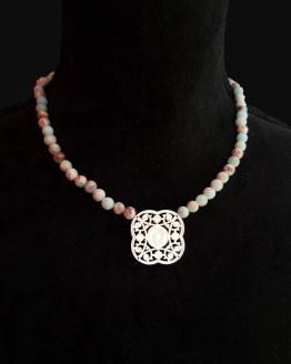 Solal Bijoux Haute Fantaisie collier aimanté de perles en jaspe impérial vert d'eau