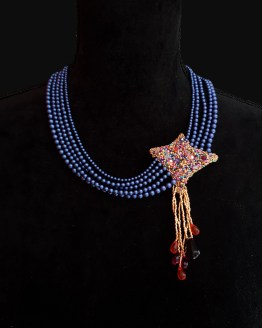 Solal Bijoux Haute Fantaisie collier aimanté de perles swarovski bleues