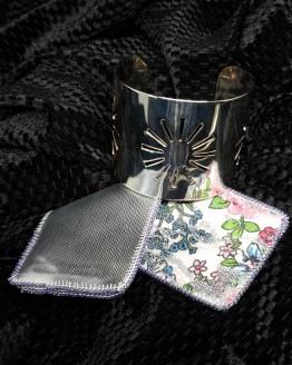 Solal Bijoux Haute Fantaisie manchon réversible argent et imprimé floral