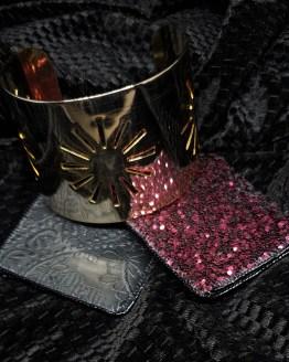 Solal Bijoux Haute Fantaisiemanchon réversible noir et glitter bordeau