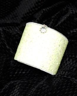 Solal Bijoux Haute Fantaisie manchette et manchon réversible vert et glitter jaune