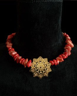 Solal Bijoux Haute Fantaisie collier aimanté de perles en jaspe impérial rouge