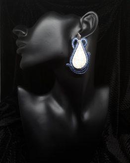 Solal Bijoux Haute Fantaisie boucles d'oreilles blanches et bleu