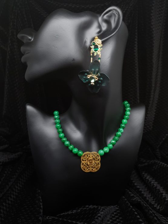 Solal Bijoux Haute Fantaisie boucles d'oreilles vert avec collier en perles de jade vert