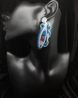 Solal Bijoux Haute Fantaisie boucles d'oreilles bleu et argent