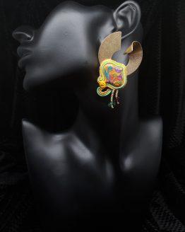 Solal Bijoux Haute Fantaisie boucles d'oreilles or orange rose et vert