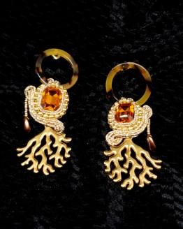 Solal Bijoux Haute Fantaisie boucles d'oreilles brun topaze et or