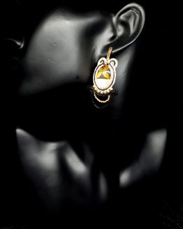 Boucles d'oreilles noir blanc et or Solal Bijoux Haute Fantaisie