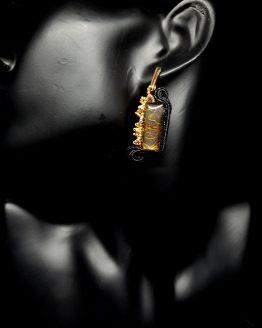 Boucles d'oreilles noir et or Solal Bijoux Haute Fantaisie