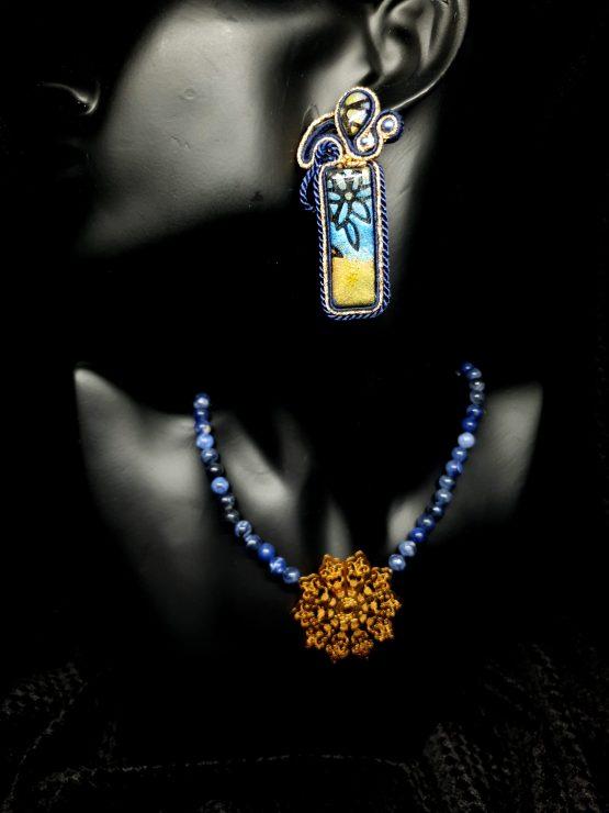 Boucles d'oreilles bleu et or Solal Bijoux Haute Fantaisie