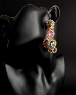 Boucles d'oreilles turquoise et corail Solal Bijoux Haute Fantaisie