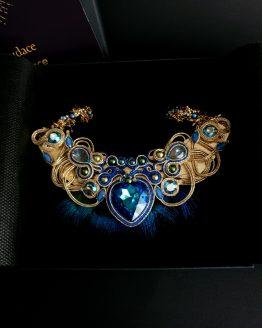 collier bleu or et plumes Solal Bijoux Haute Fantaisie