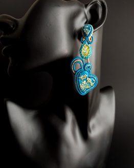 Boucles d'oreilles bleu et jaune Solal Bijoux Haute Fantaisie