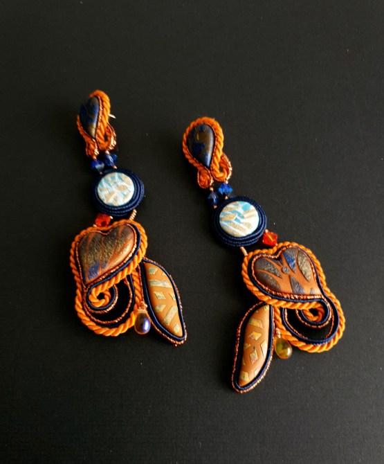 Boucles d'oreilles orange et bleu Solal Bijoux Haute Fantaisie