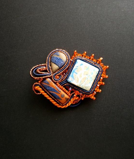 Bijou nomade orange et bleu Solal Bijoux Haute Fantaisie