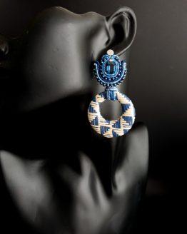 Boucles d'oreilles bleu et écru Solal Bijoux Haute fantaisie