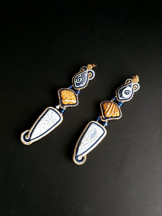 Boucles d'oreilles bleu marine blanc et doré Solal Bijoux Haute Fantaisie