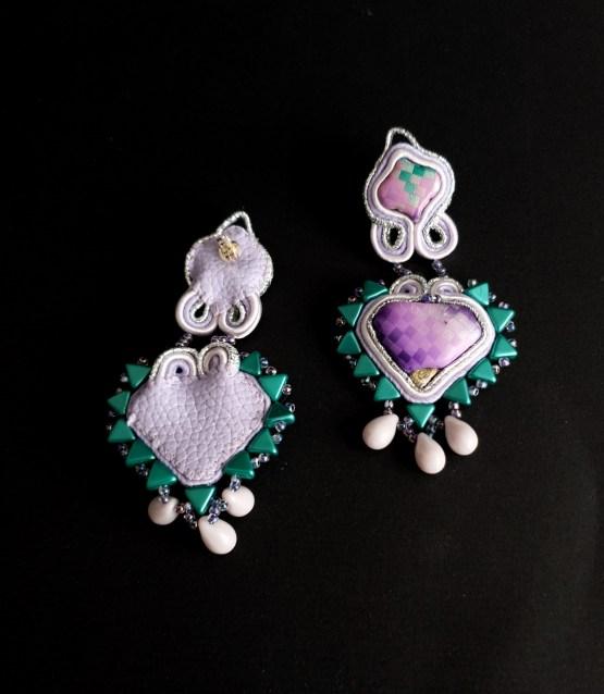 Boucles d'oreilles parme et vert Solal Bijoux Haute Fantaisie