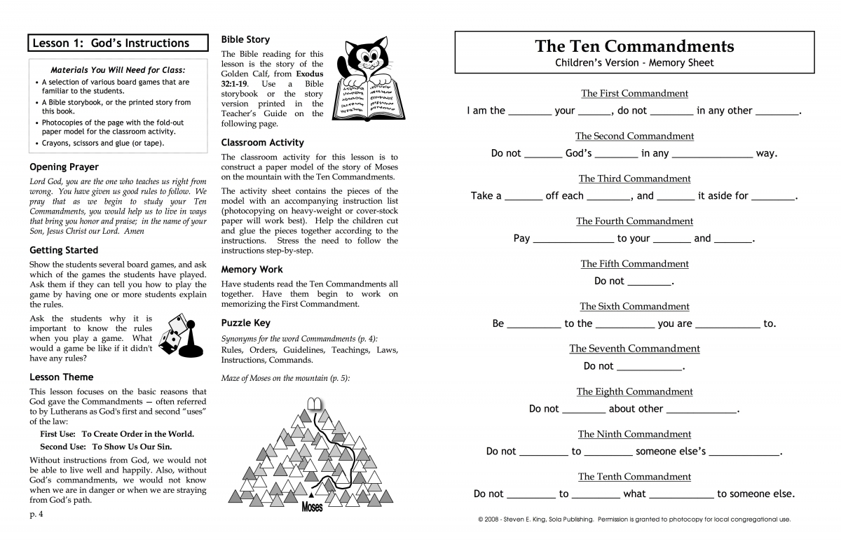 Learning The Ten Commandments Teacher S Guide C