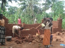 Many work together to build a house