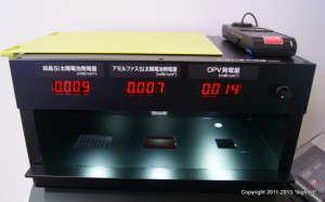 ロームの有機薄膜型太陽電池のデモ