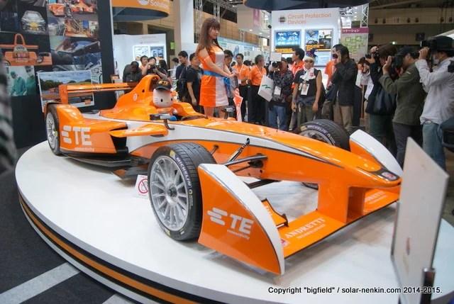 Formulra-Eのレース用EV(CEATEC JAPAN 2015のTEブースにて筆者撮影)