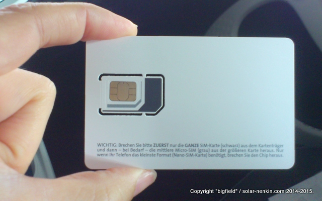 マイクロ、ミニ、標準のいずれのSIMカードスロットでも使える「Blau」のプリペイドSIM