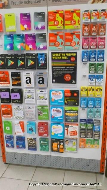 Rossman店内に陳列しているプリペイド・カード類