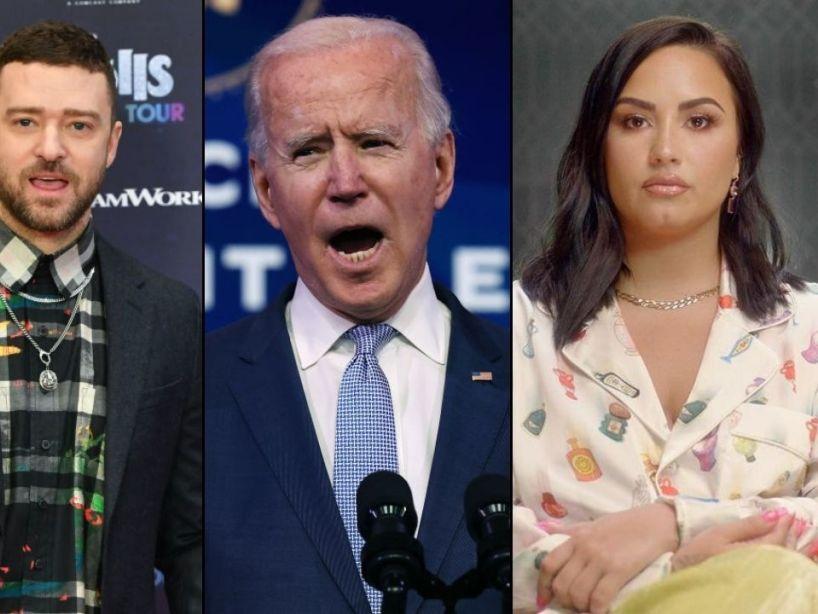 Demi Lovato, Justin Timberlake y otros artistas que estarán en la ceremonia de Joe Biden