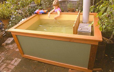 home made wood hot tub wood fired