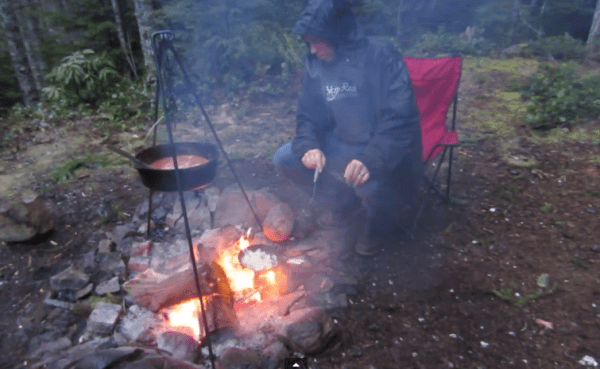 Cooking over the camp fire