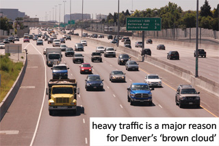 heavy traffic on I-25 in metro Denver