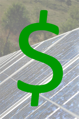 solar panels with money sign super-imposed